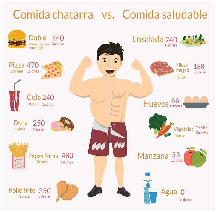 Comida Sana Y Comida Chatarra Comparación Y Diferencias Cuadro Comparativo